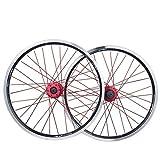 MZPWJD Juego Ruedas Bicicleta Plegable 20 Pulgadas Rueda Bicicleta BMX Llanta Aleación Doble Capa Disco/V-Freno QR 7-10 Velocidad 32H (Color : Black)