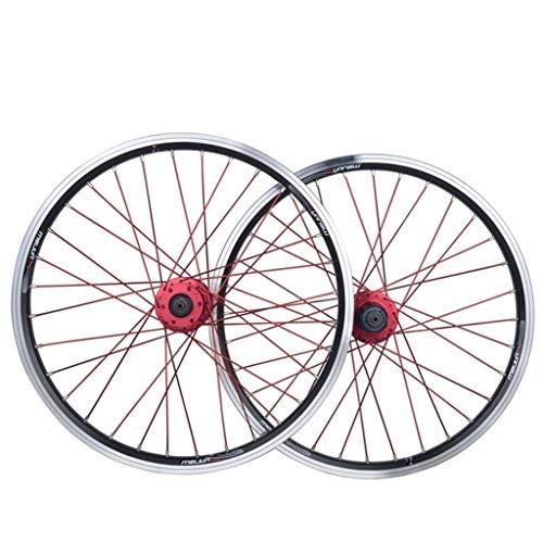 MZPWJD Juego Ruedas Bicicleta Plegable 20 Pulgadas Rueda Bicicleta BMX Llanta Aleación...