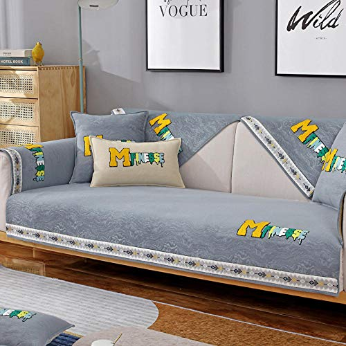 kinfuki Brazo Elástica Modelo Sofa Funda Antimanchas Chaise,Combination Patch Embroidered Sofa Cushion Cover-Smoky Gray_70*150
