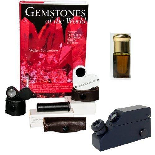 Chelsea Filter, Dichroscope, Jewelers Loupe, Gemological Refractometer - Gem Identification Tools, Bundle 6 Items