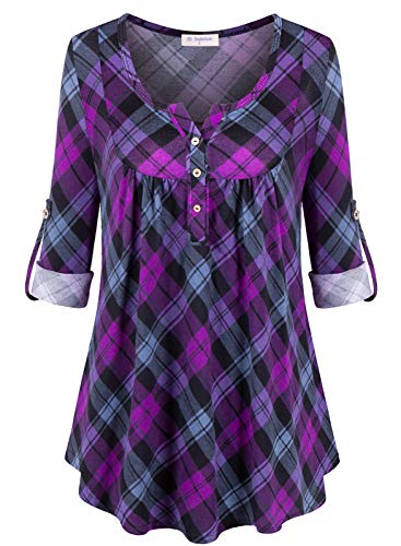 Bulotus Womens Tops 3/4 Sleeve Henley V Neck Tunics to Wear with Leggings, Balck Purple Plaid, Large