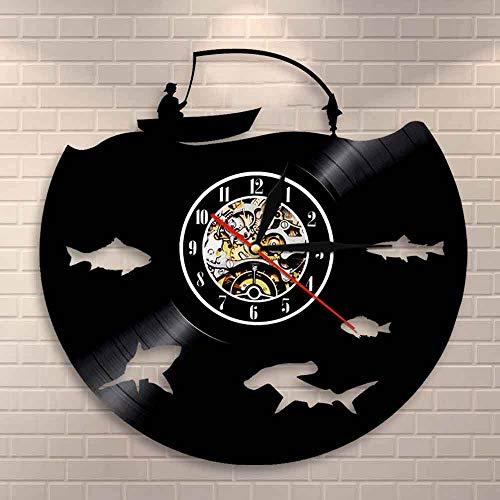 BFMBCHDJ Fliegenfischen Zeichen Fischen Party Mann Höhle Dekor Moderne Wanduhr Big Fish On The Hook Vinyl Schallplatte Wanduhr Fisherman Dad Geschenk