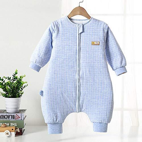 Zachte warme babyslaapzak, herfst- en wintergewatteerde slaapzak met splitpoot, baby-anti-kick-quilt-blauw grid_100 yards 90-100 cm 2-3 jaar oud, voor peuters van 3 tot 18 maanden