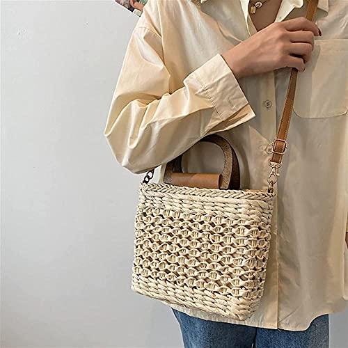 Strohbeutel für frauen damen handgefertigte straw umhängetasche sommer reisen strand handtasche weibliche umhängetasche mode hohl handtasche umhängetasche für frauen-22 cm19,5 cm8,5 cm._EIN Evolu