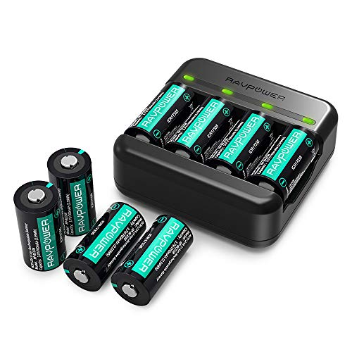 CR123A Rechargeable Batteries RAVPower [8 Pack 3.7V 700mAh ] Protected Batteries for Arlo Security Wireless Cameras VMC3030 VMK3200 VMS3330 3430 3530 and Flashlight Polaroid Microphone