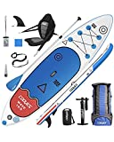 Cooyes Premium Inflatable Stand Up Paddle Board (6 inches Thick) with SUP Accessories & Backpack, Dry Bag, Adjustable Kayak Seat, Large Fin, Leash, Paddle and Pump, Standing Boat for Youth & Adult