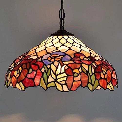 Miwaimao Lámpara colgante estilo Tiffany, estilo retro, creativo, de cristal para Living Roon, hotel, cafetería, altura ajustable, lámpara colgante decorativa E27