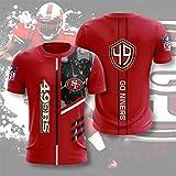 Xiaolimou Hommes T-Shirt San Francisco 49Ers Fans Rugby Chemises Confortable Maillots Uniforme Top Brodés XXS-5XL, Cadeaux pour Les Fans De Rugby, Ne Se Fanera Pas,XS