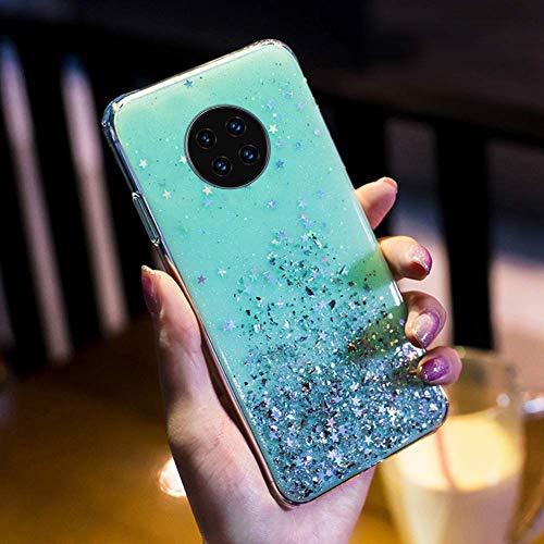 Uposao Kompatibel mit Huawei Mate 30 Pro Hülle Glänzend Glitzer Strass Diamant Sterne Transparent TPU Silikon Handyhülle Weiche Dünn Durchsichtig Schutzhülle Tasche Crystal Case,Grün