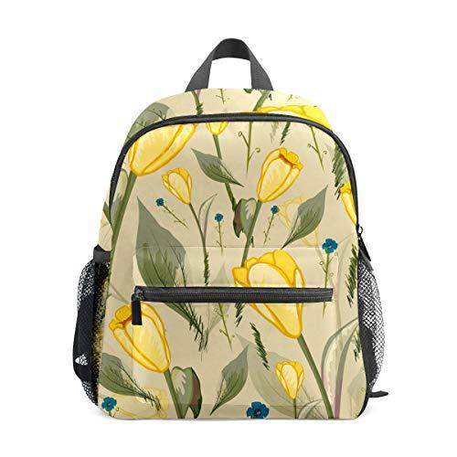 Mochila para niños preescolar, bolsa de escuela, para niños y niñas, ligera, para 1 a 6 años de edad, mochila perfecta para niños pequeños a jardín de infancia, flores amarillas