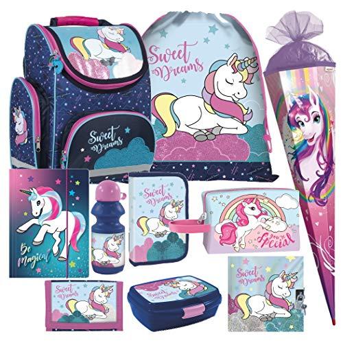 Einhorn Unicorn Pferd Pony Horse 10 Teile Set Schulranzen Schultasche Ranzen Tornister Federmappe Schultüte 85 cm inklusive Sticker von Kids4shop