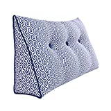 WOWMAX Large Bolster Cushion Triangualr Wedge Back Support Positioning Reading Backrest Husband Pillow Headboard Lumbar Pad for Sofa Bed Blue Honeycomb 100cm