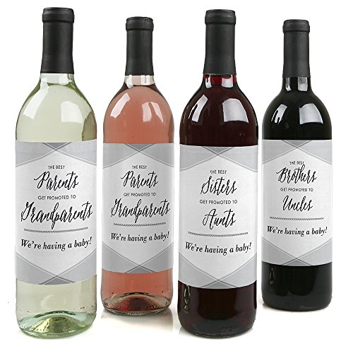 Family Pregnancy Announcement Gift for Women and Men - Wine Bottle Label Stickers - Set of 4