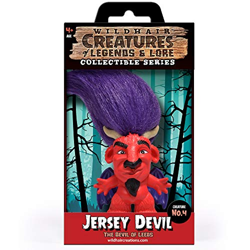 """WILD HAIR CREATIONS' Jersey Devil, AKA The Devil of Leeds, from The Creatures of Legends and Lore, 5.5"""" Collectible Vinyl Toy/Novelty Figure with Troll Hair and Colorful Packaging/Creature Fun Facts."""