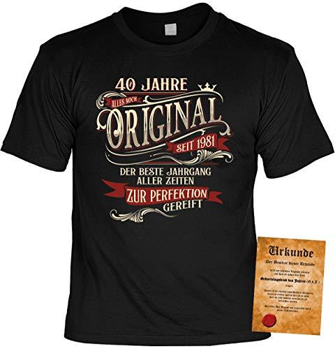 T-Shirt 40 Geburtstag - Geburtstagsshirt Sprüche Jahrgang 1981 : 40 Jahre Alles noch Original seit 1981 - Geschenk-Shirt zum 40.Geburtstag Frau/Mann + lustige Urkunde Gr: XXL