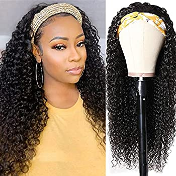 10A Headband Wig Deep Wave Human Hair Wigs for Women Glueless Wavy Wigs with Free Headbands Brazilian Virgin Human Hair None Lace Front Wig Jaja Hair Protective Style Easy to Wear 180% Density 20 Inch