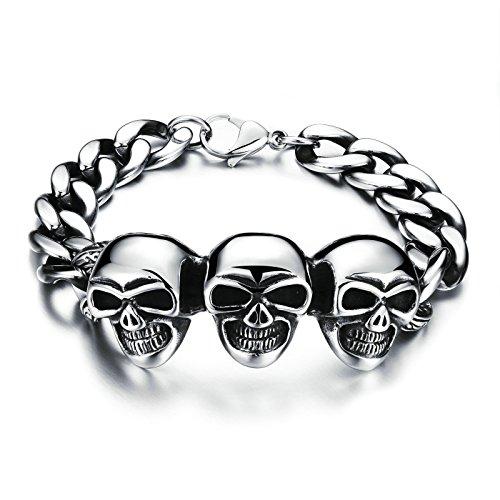 Aooaz Titan Link Armbänder Für Herren Große Gothic Schädel Biker Silber 22x2.5CM