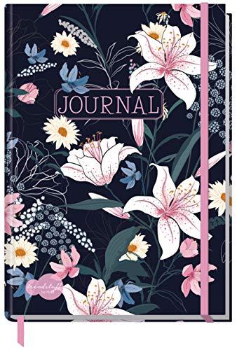Bullet Journal dotted A5 mit Gummiband [Dark Flower] von Trendstuff by Häfft   Notizbuch, Tagebuch - stilvoll, robust, biegsam, abwischbares Cover