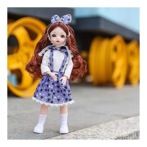 GQDZ 12-Zoll-Puppe 30cm 1/6 Makeup verkleiden Puppen mit der Mode-Kleidung for Mädchen-Spielzeug-Geschenke Kinder Spielzeug (Color : Brown curly A1)