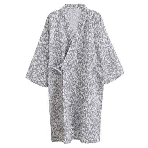 Unisxe Peignoir de Bain Kimono Japonais en Pur Coton Double Femme Homme Chemise de Nuit Lâche Ruban Poncho Plage Piscine Vêtement de Sauna Hydrothérapie Combinaison de Robe,Gris(vagues),L