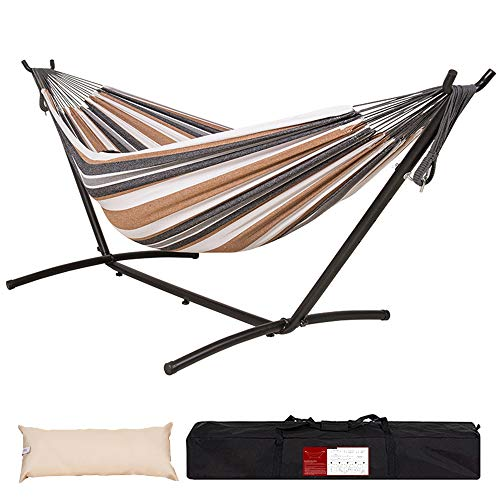 Lazy Daze Hammocks Brazilian-Style Double Cotton Hammock with 9FT Space Saving Steel Stand Includes Portable Carrying Bag and Head Pillow for Backyard, 450 lbs Capacity (White&Coffee)