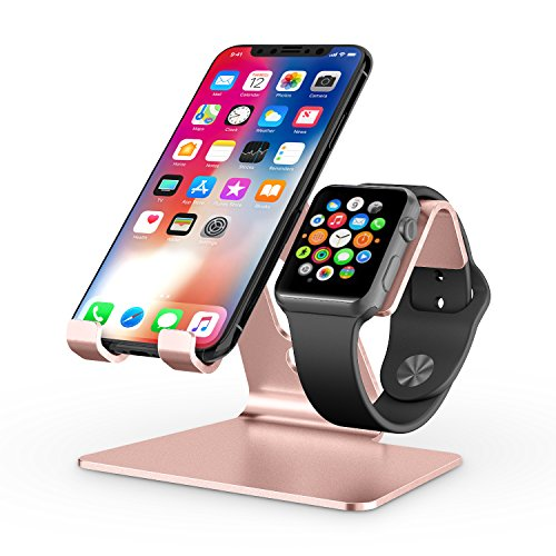 Apple Watch Stand, OMOTON 2 in 1 Universal Desktop Stand Holder for iPhone and Apple Watch Series 5/4/3/2/1 (Both 38mm/40mm/42mm/44mm) (Rose Gold)