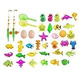 TOYANDONA Juego de Juegos de Juguetes de Pesca Magnéticos de 39 Piezas Juguete de Baño de Pesca para Niños con Barra de Poste Juguetes Educativos de Aprendizaje Neto para Niños