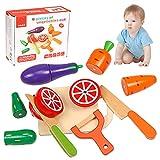 Kinderküche zubehör Holz, Kinderküche Spielküche Zubehör aus Holz, Schneiden Sie Obst und Gemüse Magnetspielzeug, Küche Spielzeug Lernspielzeug Geschenk für Kinder