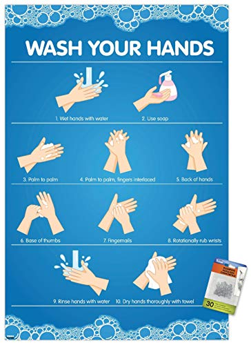 Wash Your Hands Wall Poster with Push Pins