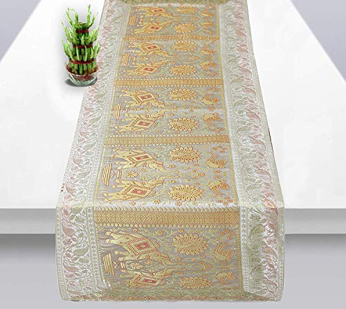 Radhy krishna fashions Rajasthani - Camino de Mesa y Mantel de Seda, diseño de Elefante, Color Blanco y Dorado (58 x 16 Pulgadas)