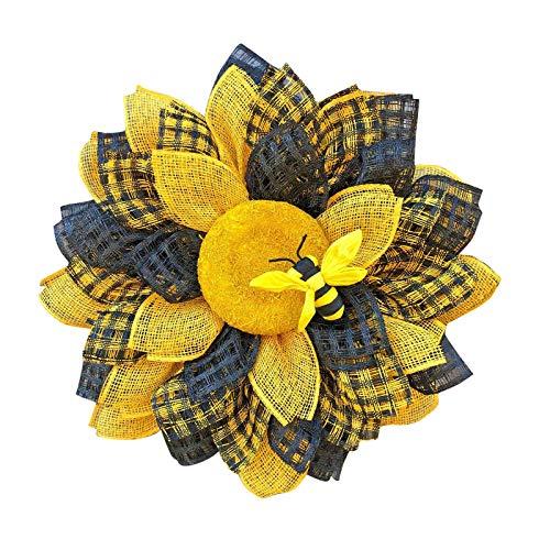dasw Artificial Sunflower Summer Wreath, Nourich Decorated Pre-Lit Wreath, Simulation Bee Sunflower Wreath Artificial Wreath Pendant Wedding Decoration (A)