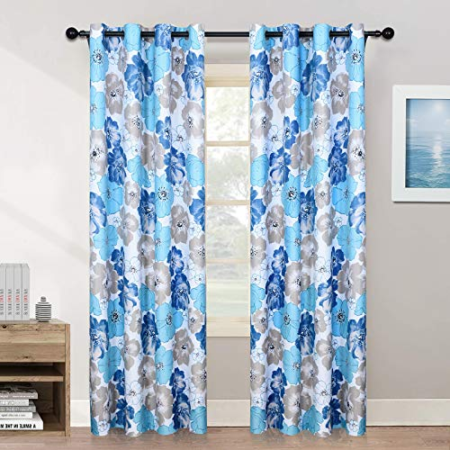 Melodieux Floral Sheer Curtains for Living Room Rod Pocket Voile Drapes, 52 by 84 Inch, White (1 Panel)
