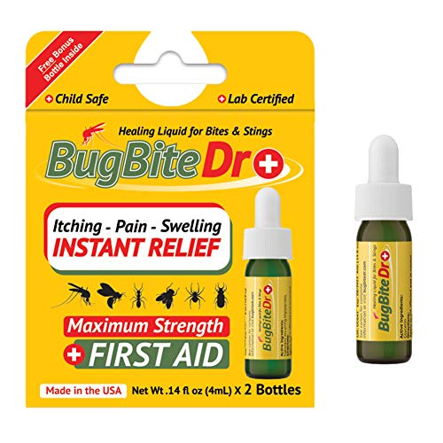 BugBiteDr Insect Bite Relief Oil - Healing Liquid Gel for Bites & Stings - Lab Tested Instant Relief from Itching & Pain - Safe for Kids & Pets - .14 fl oz (4ml) Each, 2 Bottles…