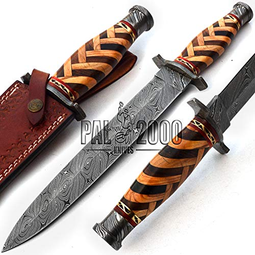 Damascus Knives Double Edge Dagger - Best Handmade Damascus Steel Blade Dagger Knife With Sheath - Beautiful Rose Wood With Olive Wood Handle - New Pattern Sharp Edge Fixed Blade - 17 Inch - 9733