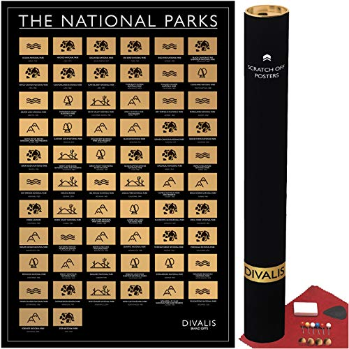 Scratch off USA National Park Poster - All 62 US National Parks - Easy to Frame United States...