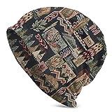 Curly Florets and Leaves Spiral Pattern Unisex Berretto a maglia casual All-Match Country House Orsetto muschio con motivo a albero Taglia unica