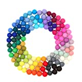 Glaciart One Felt Pom Poms, Wool Felt Balls (120 Pieces) 2 Centimeters - 0.8 Inch, Handmade Felted 40 Color (Red, Pink, Blue, Black, White, Pastel and More) Bulk Small Puff for Felting and Garland