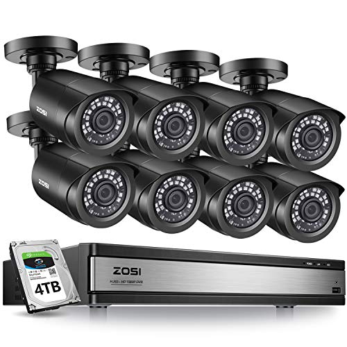 ZOSI H.265+ 16CH 1080P Surveillance Camera System,2MP Digital Recorder 8Pcs HD 1920TVL Security Cameras with 4TB Hard Drive Pre-Installed,80ft Night Vision,Free Remote Access。Motion Alert,Black