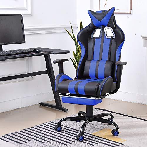 Soontrans Sedia Gaming Ergonomica Sedia Ufficio Girevole Altezza Regolabile con Supporto Testa (Blu)