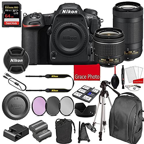 Nikon D500 DSLR Camera Kit with 18-55mm VR + 70-300mm VR Lenses | Built-in Wi-Fi | 20.9 MP CMOS Sensor | SnapBridge Bluetooth Connectivity | Extreme Speed 64GB Mempry Card (27pc Bundle)