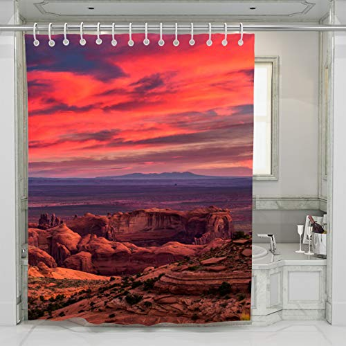 BEISISS Tribal Shower Curtain Hunts Mesa Navajo Tribal Majesty Place Near Monument Valley Arizona USA Photo Art Fabric Bathroom Decor Set with Hooks,72Wx72L