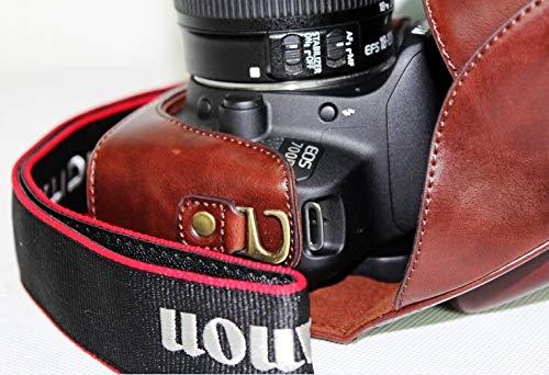 Premium Leder Case Camera Bag für Canon EOS 100D/110D/550D mit Shoulder-Strap (3 Farben verfügbar),WineRed