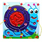 JUEJIDP Magnetic Maze Toys Wooden Round Maze Puzzle, Early Development Activity Toys Interactive Maze Pen Driving Beads Maze Girls and Boys Toys,Snail