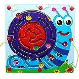 JUEJIDP Juguetes educativos para niños de la Serie de Laberinto magnético, Juguetes de Madera para Actividades de Desarrollo temprano, Juego de Rompecabezas para niños, Juego de Mesa portátil,Snail