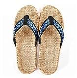 Zapatillas Casa Chanclas Sandalias Sandalias De Lino para Hombre Patrón De Leopardo Chanclas De Interior Al Aire Libre Zapatillas De Playa De Lino-Blue_7