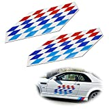 iJDMTOY (2) 22x9-Inch Iconic M Sport Flag Tri-Color Decal Stickers Compatible With BMW Side Doors, Hood Cosmetic Decoration, Made w/Reflective Material
