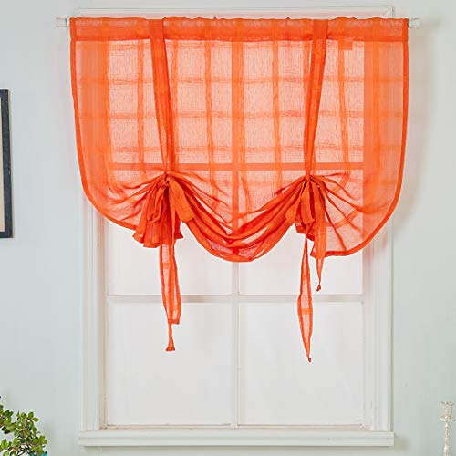 """vctops Solid Orange Voile Tie Up Roman Curtains Rod Pocket Semi Sheer Adjustable Kitchen Balloon Curtain for Small Window (31""""x55"""",Orange)"""