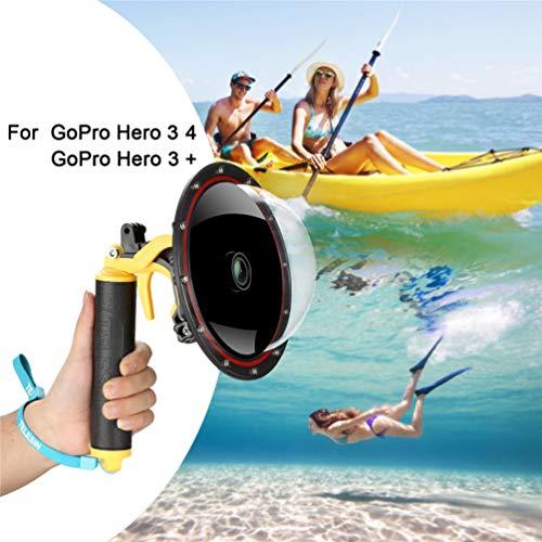 Para GoPro Dome Port Hero 4 Hero 3 3+, Carcasa subacuática con pistola de gatillo y agarre flotante Fotografía Funda impermeable Funda impermeable para GoPro Accesorio (For GoPro Hero 4/3/3+)
