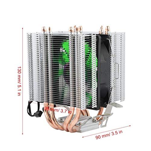 12V CPU-koeler, processorkoeler, radiator met enkele ventilator, compatibel met 4 warmtepijpen 3-lijns enkele ventilator/vier warmtepijpen/aluminium basis/hoog rendement/warmteafvoer (groen licht)
