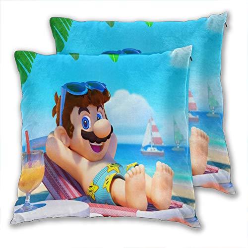 anzonto Federa decorativa per cuscino Super Mario Sunshine Beach Life Home Federa per cuscino per ragazzi e ragazze, 40 x 40 cm, 2 pezzi